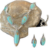 """Stunning LARIAT Navajo Sterling SILVER Blue TURQUOISE Necklace Pendant 19"""" 01415"""