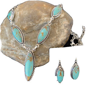 "Stunning LARIAT Navajo Sterling SILVER Blue TURQUOISE Necklace Pendant 19"" 01415"