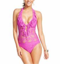 Kenneth Cole One Piece Sz L Orchid Purple Swimsuit Crochet Net Halter RS5LE12