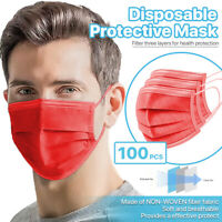 [Red] 100 Pcs Disposable Face Masks 3-Ply Non Medical Surgical Earloop Cover