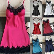 Lady Satin Sleepwear Women Nightwear Nightdress Lingerie Padded Underwear UK