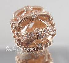 SHIMMERING SENTIMENTS Authentic PANDORA Rose GOLD Plated/CZ BOWS Charm/Bead NEW