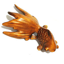 Hand Carved Boxwood Netsuke Vivid Swimming Goldfish Fits DIY Pendant Necklace