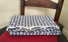 Antique 1800s blue & white check cotton homespun fabric textile old window cover