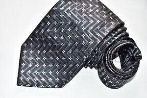 Men's Ermenegildo Zegna Floral Black Silk Neck Tie Made in Italy