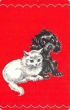 White Cat Kitten Black Dog Puppy Single Swap Playing Card Vintage Blank Back