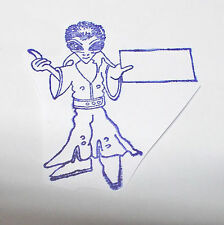 Alien Elvis Impersonator rubber stamp Holding a sign Funny Offbeat stamping die