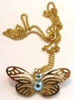 pendentif collier rétro couleur or papillon relief ajouré cristal boréalis *4837