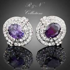 Platinum Plated Made With Swarovski Austrian Crystal Stud Earrings