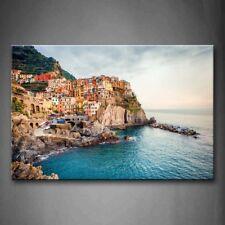 Framed Manarola Seaside Town Canvas Print Wall Art Picture Cinque Terre Artwork