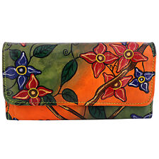 Genuine Leather Painted Wallet Clutch Floral Clutch Bag Unique Gift For Her