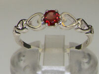 925 Sterling Silver Natural Garnet Womens Solitaire Ring - Sizes 4 to 12