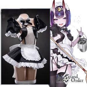 FGO Shuten-douji Sexy Maid Uniform Dress Cosplay Costume Full Set