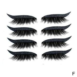 4Pairs Reusable Eyeliner and Eyelash Sticker False Eyelashes Sequin Eye Shadows
