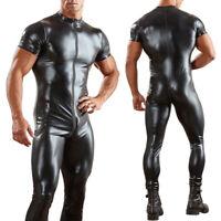 Mens Shiny Wetlook PVC Latex Leather Zipper Bodysuit Jumpsuit Lingerie Underwear