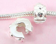 10pcs Silver Clip Lock Stopper Heart Beads Fit European Charm Bracelet T07