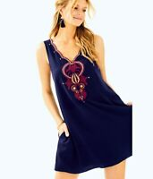 LILLY PULITZER $248 Owen Embellished Swing Shift Dress in True Navy Size Small