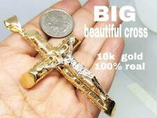 "GOLD Cross Jesus pendant 10k yellow White 15g 3.60"" BIG"