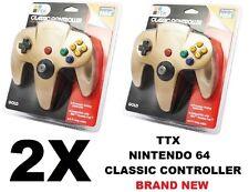 2x TTX Tech N64 GOLD Classic Controller MODEL : NXN64-023 (849172004207) [F05]