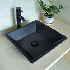 Bathroom Porcelain Ceramic Sink Square Basin Bowl ORB Faucet Drain Combo Black