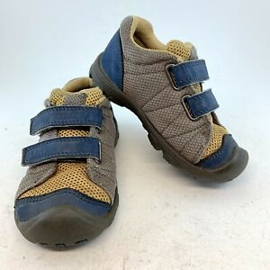 KEEN Little Kids Toddler Gray Yellow Blue Toe Guard Mesh Sneakers, size 24 US 7