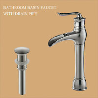 MYHB Waterfall Bathroom Vessel Sink Faucet Single Hole,Brushed Nickel SH8012BN