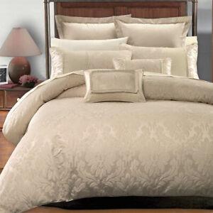 Luxury Sara Jacquard 7 Piece Duvet Cover Set Decorative Pillows + Pillow Shams