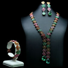 NATURAL SET! GREEN FLUORITE EMERALD RUBY CITRINE & SAPPHIRE 925 STERLING SILVER