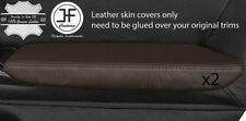 BROWN REAL LEATHER 2X FRONT DOOR ARMREST COVER FITS NISSAN GT-R GTR R35 09-17