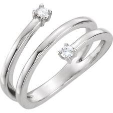 14K White 2.5mm (x2) Round Forever One™ Moissanite Modern triple Ring New!