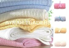 New 100% Cotton Baby Cellular Soft Blanket Cot Bed Mosses Pram Basket Soft Arms