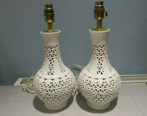 VINTAGE PAIR OF CHINESE WHITE PIERCED TABLE LAMPS