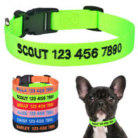 Nylon Dog Collar Personalized Custom Embroidered Small Medium Large Dogs ID Name