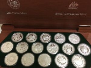 2000 16 x 1oz Sydney Olympic  Silver Coin Set - The Perth Mint & Royal Aust Mint