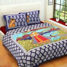 Handmade Rajasthani Cotton Picture Design Blue Bed Sheet With Two Pillow Covers