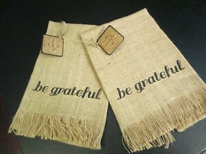 """Thanksgiving """"Be Grateful"""" Burlap Hand Towel by Mud Pie, Set of 2, NWT"""