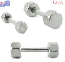 BOLT END TRAGUS Bars LABRET Piercing Nipple Barbell Body Bar 14g 10mm STEEL
