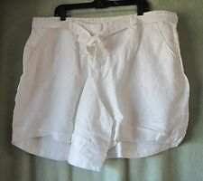 Womens Lane Bryant White Linen Rayon Short With Tie Belt NWT $44.95 22/24 2X 3X