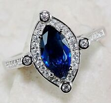 2CT Blue Sapphire & Topaz 925 Sterling Silver Ring Jewelry Sz 7