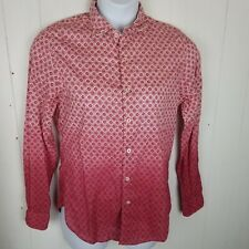 Ganesh Womens Top size M Pink Floral white Ombre Button Front long sleeve Shirt