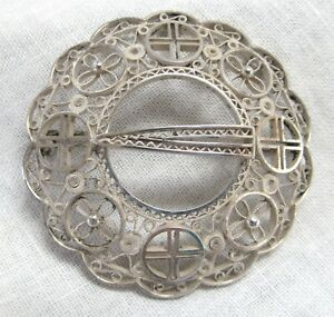 Sterling Silver Filigree Brooch Faux Round Buckle