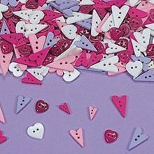 "20 Heart  Shape Buttons Pink Purple White 1/2"" - 1 1/4"""