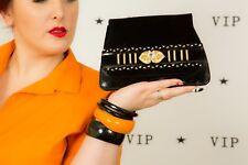 Vintage black & gold Patent Velvet diamante beaded evening bag shoulder bag