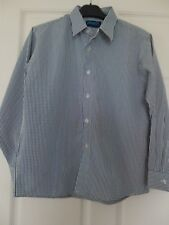 Boy's Check Shirt Long Sleeves Buttons Navy White Collar Age 11-12 Anvil BNWT