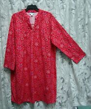 RED PINK SNOWFLAKES LONG SOFT SMOCKED 100% COTTON FLANNEL NIGHTGOWN GOWN~2X~NEW
