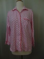 Victoria's Secret Sleepwear Button Front Flannel Pajama Top Pink Dot Small #2341