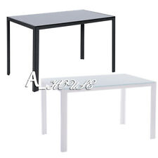 White Black Glass Dining Table Dining Room Contemporary Home Kitchen Furniture
