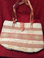 JUTE AND LEATHER STRIPED WOMEN'S TOTE BAG EARTH TONES CLOTH LINED
