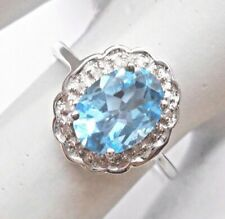 10k White Gold London Blue Topaz & Diamond Accent Halo Ring