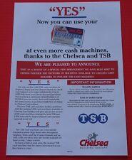 TSB Bank Chelsea Building Society Link Debit Card Leaflet 1990s Banking Retro
